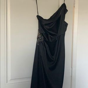 Eliza J one shoulder satin maxi gown